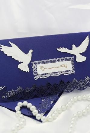 Резное приглашение с голубями (СВ-018)